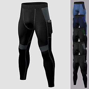 cheap Running & Jogging-YUERLIAN Men's Running Tights Leggings Compression Pants Athletic Base Layer Bottoms with Phone Pocket Spandex Winter Fitness Gym Workout Performance Running Training Breathable Quick Dry Moisture
