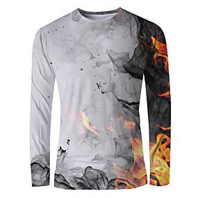 cheap Athleisure Wear-Men's T shirt Shirt Graphic Flame Print Long Sleeve Daily Tops Basic Elegant Round Neck White