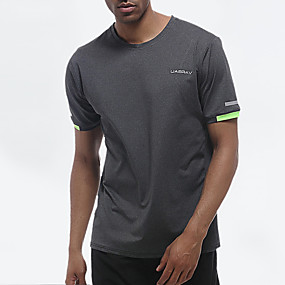 cheap Running & Jogging-UABRAV Men's Short Sleeve Running Shirt Tee Tshirt Top Athleisure Quick Dry Breathable Sweat wicking Gym Workout Performance Running Jogging Training Sportswear Solid Colored Grey Activewear