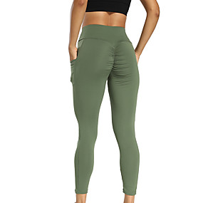 cheap Yoga & Fitness-Women's Yoga Pants Scrunch Butt Side Pockets Tights Leggings Tummy Control Butt Lift Breathable Black Red Green Spandex Yoga Fitness Running Winter Sports Activewear High Elasticity / Quick Dry
