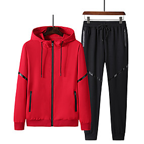 cheap Running & Jogging-Men's Tracksuit Jogging Suit Street Casual 2pcs Long Sleeve Spandex Thermal Warm Soft Jogging Training Sportswear Jacket Track pants Black Red Grey Activewear Micro-elastic / Cotton / Athleisure