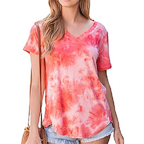 cheap Athleisure Wear-womens summer v neck t shirts tunic soft tees for juniors summer tops for women orange l
