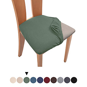 cheap Slipcovers-1 Set of 2 pcs Solid Color Dining Chair Seat Covers, Stretch Fitted Dining Room Upholstered Chair Seat Cushion Cover, Removable Washable Furniture Protector Slipcovers with Ties