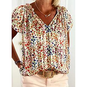 cheap Athleisure Wear-Women's T shirt Floral Flower V Neck Beach Tops Rainbow
