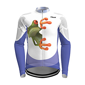 cheap Cycling & Motorcycling-21Grams Men's Long Sleeve Cycling Jersey Polyester Blue Orange Green Frog Animal Bike Jersey Top Mountain Bike MTB Road Bike Cycling Quick Dry Breathable Reflective Strips Sports Clothing Apparel