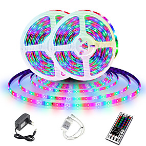 cheap Remote Control-LED Strip Light (2x5M)10M 32.8ft 2835 RGB 600leds 8mm Strips Lighting Flexible Color Changing with 44 Key IR Remote Ideal for Home Kitchen Christmas TV Back Lights DC 12V