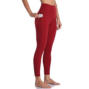 cheap Running & Jogging-Women's Running Tights Leggings Compression Pants Street Tights Capris Bottoms with Phone Pocket Winter Fitness Gym Workout Running Jogging Training Quick Dry Breathable Soft Sport Solid Colored