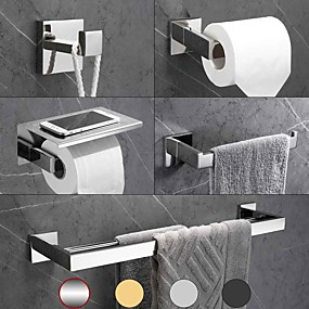 cheap Bath Accessories-5 Pcs Bathroom Hardware Accessory Set -Towel Bar Toilet Paper Holder with Shelf Robe Hook Towel Holder-SUS304 Low Carbon Steel Metal Wall Mounted