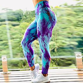 cheap Yoga & Fitness-Women's High Waist Yoga Pants Scrunch Butt Ruched Butt Lifting Leggings Tummy Control Butt Lift 4 Way Stretch Tie Dye Dark Yellow Black / Red Black / Yellow Fitness Gym Workout Running Sports