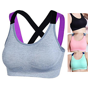 cheap Exercise, Fitness & Yoga-Women's Sports Bra Sports Bra Top Bralette Nylon Yoga Exercise & Fitness Running Fast Dry No Padded Black Pink Grey Green Solid Colored