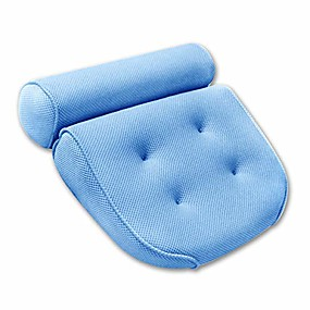 cheap Bathroom Gadgets-bath pillow for men & women, luxury bathtub cushion for neck head and shoulder support, air mesh for quick dry, 4 large non-slip suction cups for hot tub, jacuzzi and spas & #40;blue& #41;