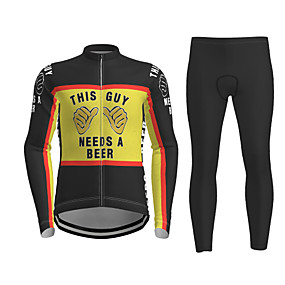 cheap Cycling & Motorcycling-21Grams Men's Long Sleeve Cycling Jersey with Tights Winter Polyester Black / Yellow Novelty Bike Jersey Tights Clothing Suit Quick Dry Breathable Back Pocket Sports Patterned Mountain Bike MTB Road