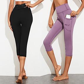 cheap Yoga & Fitness-Women's High Waist Yoga Pants Side Pockets Capri Leggings Bottoms Tummy Control Butt Lift Breathable Black Purple Spandex Yoga Fitness Gym Workout Sports Activewear Stretchy / Quick Dry