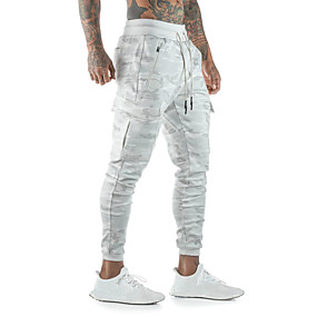 cheap Running & Jogging-Men's Joggers Track Pants Athleisure Bottoms Drawstring Winter Fitness Gym Workout Performance Running Training Breathable Quick Dry Soft Normal Sport Camouflage Gray Camouflage White / Micro-elastic