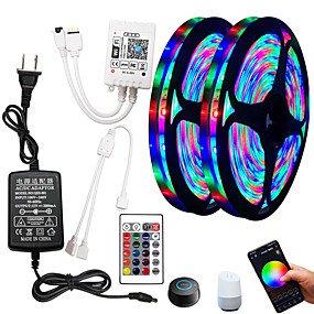 cheap WiFi Control-5m Flexible LED Strip Lights RGB Tiktok Lights Remote Controls 270 LEDs SMD2835 8mm 1 24Keys Remote Controller 1 x 2A power adapter 1 set RGB Change Christmas New Year's Indoor Decorative