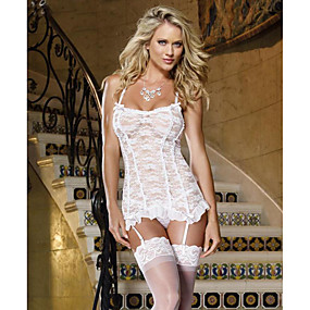 cheap Suits-Women's Lace Bow Mesh Suits Nightwear Jacquard Solid Colored Embroidered White S M L