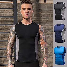 cheap Running & Jogging-YUERLIAN Men's Sleeveless Running Tank Top Compression Shirt Tee Tshirt Top Athletic Athleisure Summer Spandex Quick Dry Breathable Soft Fitness Gym Workout Performance Running Training Sportswear