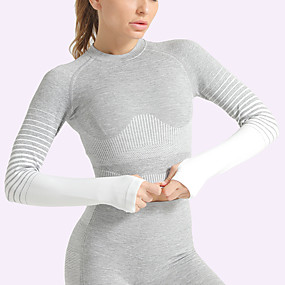 cheap Yoga & Fitness-Women's Crop Top Winter Seamless Thumbhole Color Gradient White Black Purple Yellow Army Green Nylon Yoga Fitness Gym Workout Top Long Sleeve Sport Activewear Breathable Quick Dry Comfortable Stretchy