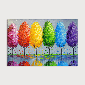 cheap Floral/Botanical Paintings-Hand Painted Canvas Oil Painting Abstract Color Trees Home Decoration With Frame Painting Ready To Hang With Stretched Frame