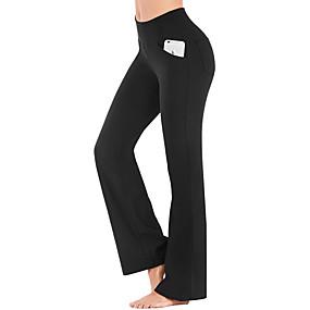 cheap Women-Women's High Waist Yoga Pants Bootcut Flare Leg Tummy Control 4 Way Stretch Quick Dry Dark Grey Wine Ion Grey Fitness Gym Workout Dance Winter Summer Sports Activewear High Elasticity