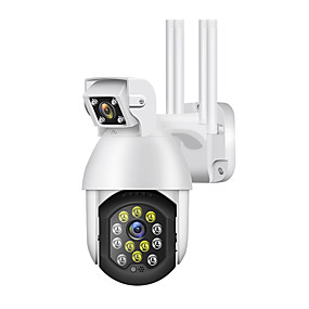 cheap IP Cameras-1080P IP Camera Outdoor Dual Lens PTZ Wifi Camera Bidirectional Audio 12 Led Infrared Night Vision Automatic Tracking Home Security Monitoring Camera