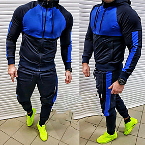cheap Running & Jogging-Men's 2 Piece Full Zip Tracksuit Sweatsuit Jogging Suit Street Casual 2pcs Winter Long Sleeve Quick Dry Breathable Soft Fitness Gym Workout Performance Running Training Sportswear Hoodie Blue Gray