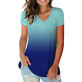 cheap Athleisure Wear-womens v neck summer tops loose fitting tee shirts blouses ombre blue xl