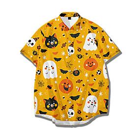 cheap Men's Halloween Shirt-Men's Halloween Shirt Graphic Print Short Sleeve Tops Basic Streetwear Yellow