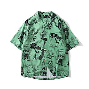 cheap Men's Halloween Shirt-Men's Halloween Shirt Graphic Skull Short Sleeve Tops Basic Vintage White Green