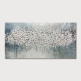 cheap Abstract Paintings-Oil Painting Paint Handmade Abstract White Flowers Canvas Art Modern Art with Stretcher Ready to Hang With Stretched Frame