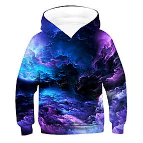 cheap Boys' Clothing-Kids Boys' Hoodie & Sweatshirt Pullover Long Sleeve 3D Printed Galaxy sky Causal Tie Dye Children Easter Tops Active Basic Purple Red Green