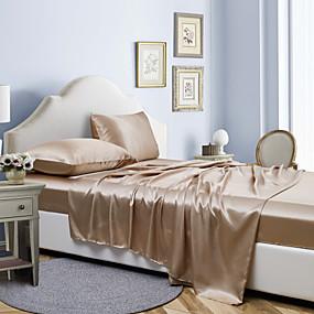 preiswerte Bettwäsche-4 Stück Hotel Luxus weiche Premium Seide einfarbige Bettwäsche Set tiefe Taschen hypoallergene Falten&Ampere; lichtbeständiges Bettwäscheset