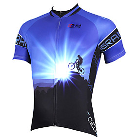 cheap Cycling & Motorcycling-21Grams Men's Short Sleeve Cycling Jersey Summer Polyester Purple Yellow Red Bike Jersey Top Mountain Bike MTB Road Bike Cycling Ultraviolet Resistant Quick Dry Breathable Sports Clothing Apparel