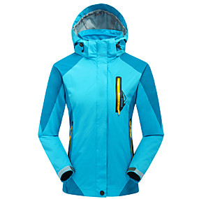 cheap Camping, Hiking & Backpacking-Cikrilan Women's Hiking Jacket Hiking 3-in-1 Jackets Hiking Windbreaker Autumn / Fall Winter Spring Outdoor Patchwork Thermal Warm Waterproof Windproof Fleece Lining Jacket 3-in-1 Jacket Winter Jacket