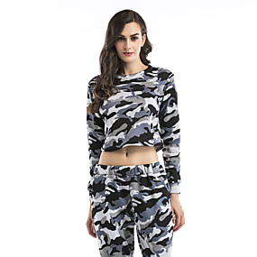 cheap Athleisure Wear-Women's Sweatshirt Crop Top Pullover Fashion Crew Neck Camouflage Color Block Cute Sport Athleisure Sweatshirt Long Sleeve Comfortable Everyday Use Causal Casual Daily / Winter