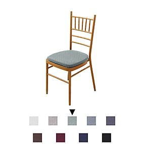 cheap Slipcovers-1 Set of 2 pcs Solid Color Dining Chair Seat Covers, Stretch Fitted Dining Room Upholstered Chair Seat Cushion Cover, Removable Washable Furniture Protector Slipcovers