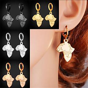 olcso Gravírozott fülbevaló-Személyre Személyre szabott Női Francia kapcsos fülbevalók 18 karátos futtatott arany Térkép 1db / csomag Aranyozott Vörös arany Fekete