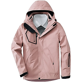 cheap Camping, Hiking & Backpacking-Women's Hiking Jacket Autumn / Fall Winter Spring Outdoor Thermal Warm Windproof Breathable Soft Jacket 3-in-1 Jacket Winter Jacket Camping / Hiking Hunting Climbing Black Pink Green