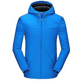 cheap Camping, Hiking & Backpacking-Men's Windbreaker Hiking Jacket Autumn / Fall Winter Spring Summer Outdoor Thermal Warm Waterproof Windproof Ultraviolet Resistant Top Hunting Climbing Running Dark Grey Black Red / Breathable