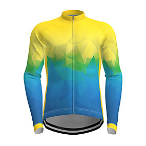 cheap Cycling & Motorcycling-21Grams Men's Long Sleeve Cycling Jersey Polyester Yellow Green Gradient Novelty Bike Jersey Top Mountain Bike MTB Road Bike Cycling Quick Dry Breathable Reflective Strips Sports Clothing Apparel