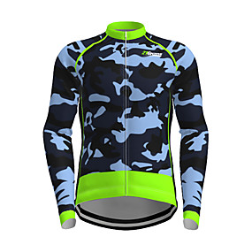 cheap Cycling & Motorcycling-21Grams Men's Long Sleeve Cycling Jersey Polyester Green Novelty Camo / Camouflage Bike Jersey Top Mountain Bike MTB Road Bike Cycling Quick Dry Breathable Reflective Strips Sports Clothing Apparel