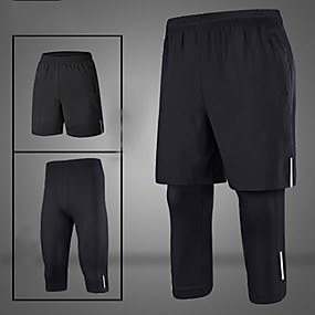 cheap Running & Jogging-Men's Running Shorts With Tights 2pcs Bottoms 2 in 1 Reflective Strip Winter Fitness Gym Workout Performance Running Training Reflective Breathable Quick Dry Sport Black / Silver Black+Sliver Black