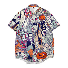 cheap Men's Halloween Shirt-Men's Halloween Shirt Skull Print Short Sleeve Tops Basic Streetwear Gray