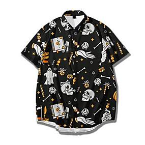 cheap Men's Halloween Shirt-Men's Halloween Shirt Skull Print Short Sleeve Tops Basic Streetwear Black