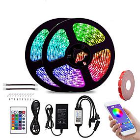 povoljno Kntrola putem aplikacije-KWB 2x5M Savitljive LED trake Setovi svjetala Smart Lights 300 LED diode SMD5050 10mm 1 Postavite nosač montaže 1set RGB Vodootporno APP kontrola Cuttable 100-240 V