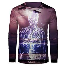 Hombre 3D Graphic Print Camisetas Esqueleto y coraz/ón Camiseta Hombre 3DT Camisa Manga Corta Cuello Redondo impresi/ón Digital Casual Manga Corta