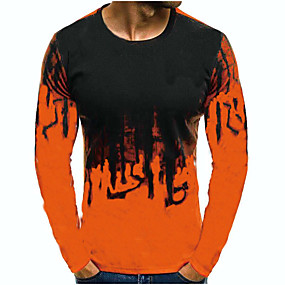 cheap Athleisure Wear-Men's T shirt 3D Long Sleeve Daily Tops White Red Army Green