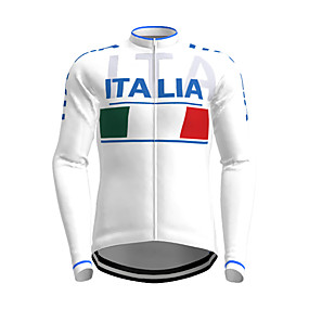 cheap Cycling & Motorcycling-21Grams Men's Long Sleeve Cycling Jersey Polyester White Novelty Italy National Flag Bike Jersey Top Mountain Bike MTB Road Bike Cycling Quick Dry Breathable Reflective Strips Sports Clothing Apparel