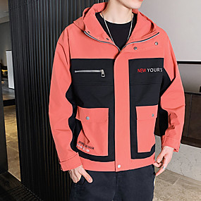 cheap Camping, Hiking & Backpacking-Men's Hiking Jacket Hiking Windbreaker Autumn / Fall Spring Outdoor Solid Color Thermal Warm Windproof Quick Dry Breathable Jacket Hunting Climbing Camping / Hiking / Caving Black Grey Orange
