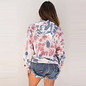cheap Athleisure Wear-Women's Pullover Hoodie Sweatshirt Color Block Tie Dye Daily Basic Hoodies Sweatshirts  Blushing Pink